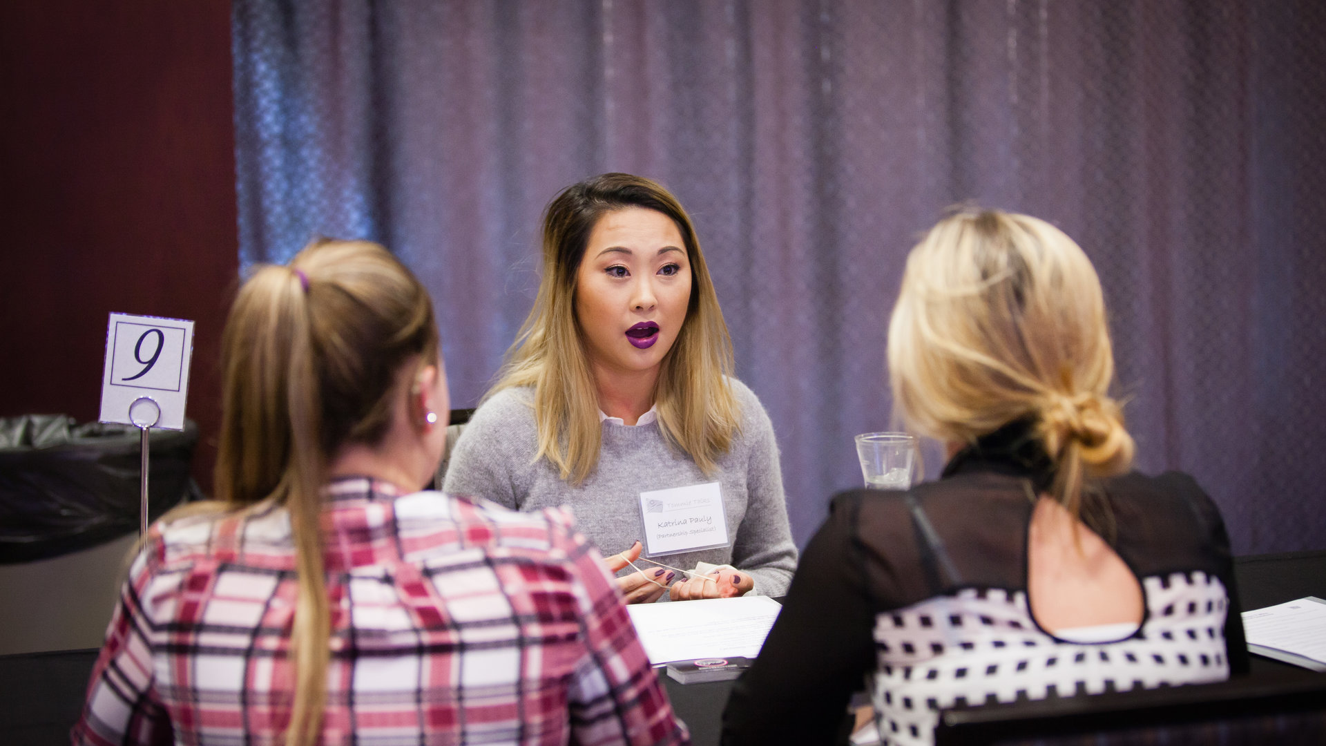 students talk to a mentor during a Speed Mentoring event