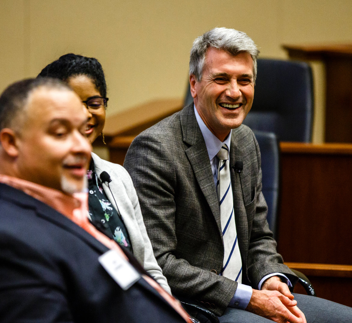 R.T. Rybak on a panel in the Schulze Hall auditorium