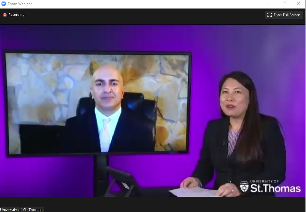 screen shot of Neel Kashkari and MayKao Hang from Zoom webinar
