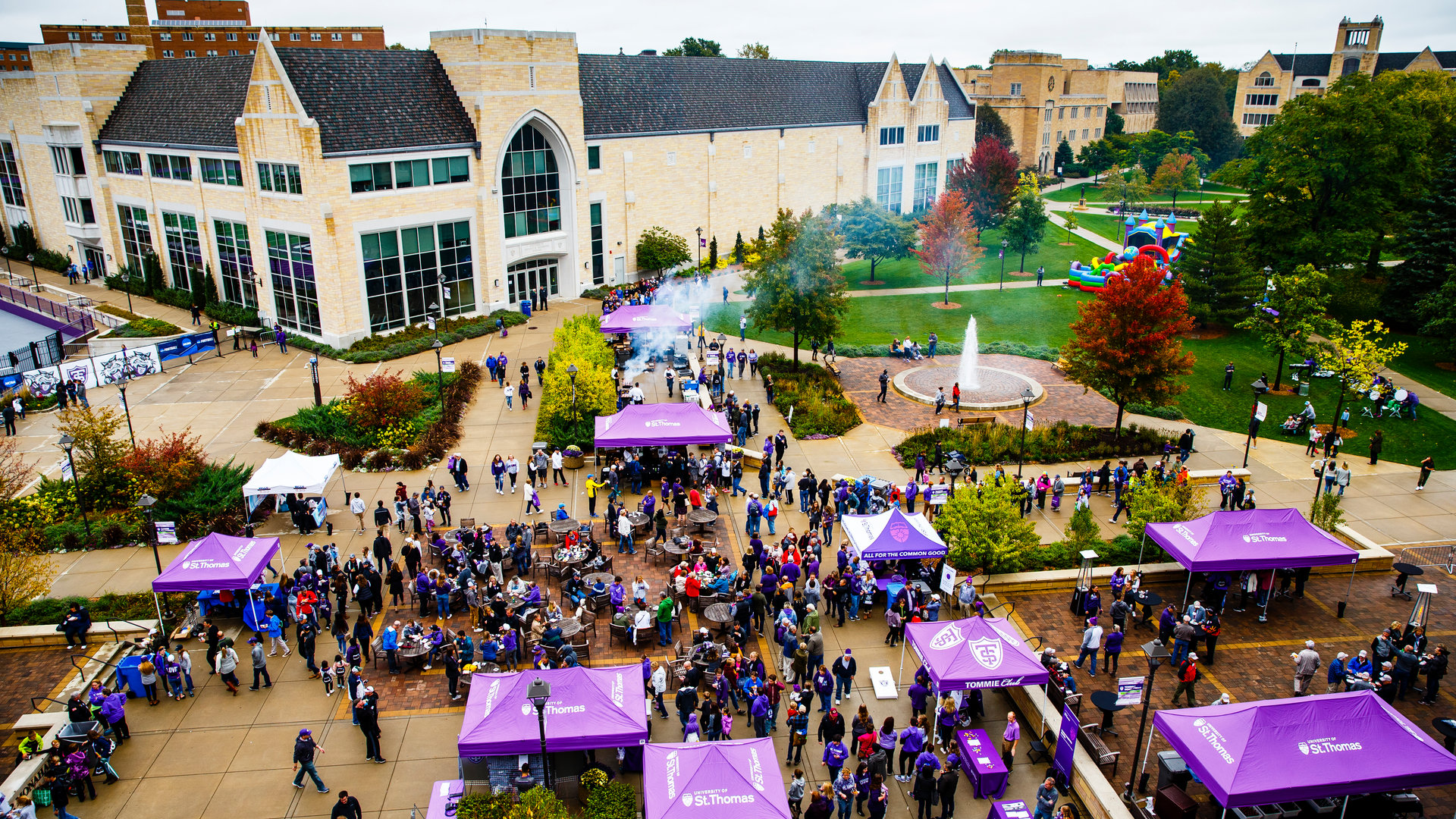 a birds-eye-view of the plaza during homecoming and family weekend