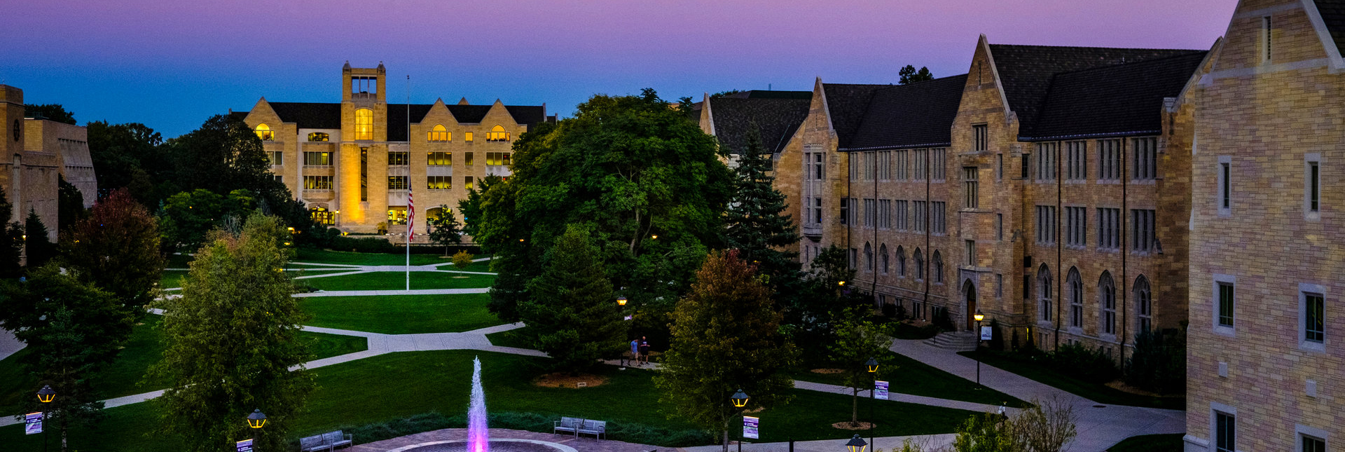 O'Shaughnessy-Frey Library during a purple sunset