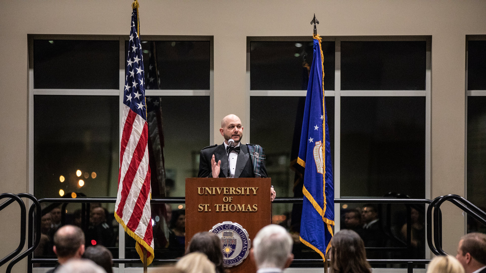 Norman Ferguson speaks at the annual Veterans Ball at St. Thomas