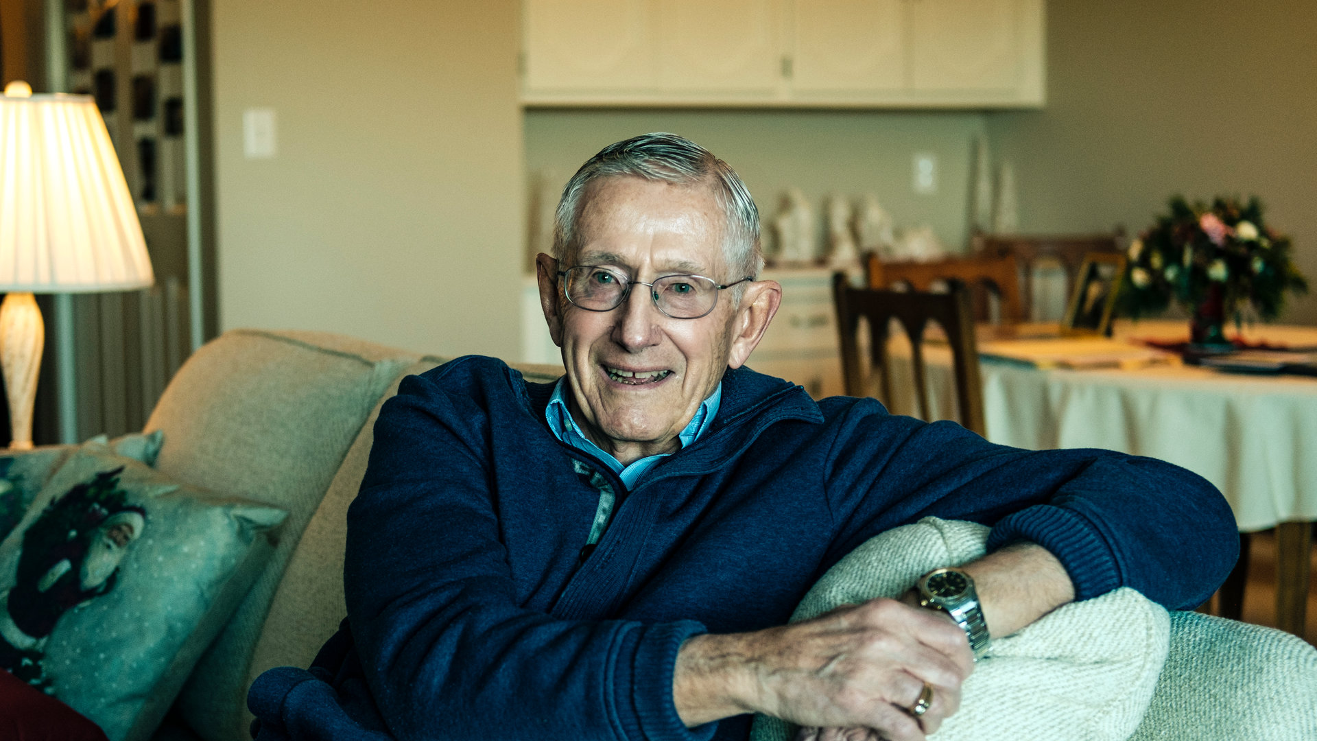 Dr. Wayne Thalhuber '60 (biology) poses for a portrait in his Mendota Heights home December 20, 2016. Thalhuber is the recipient of the 2017 St. Thomas Day Humanitarian Award.