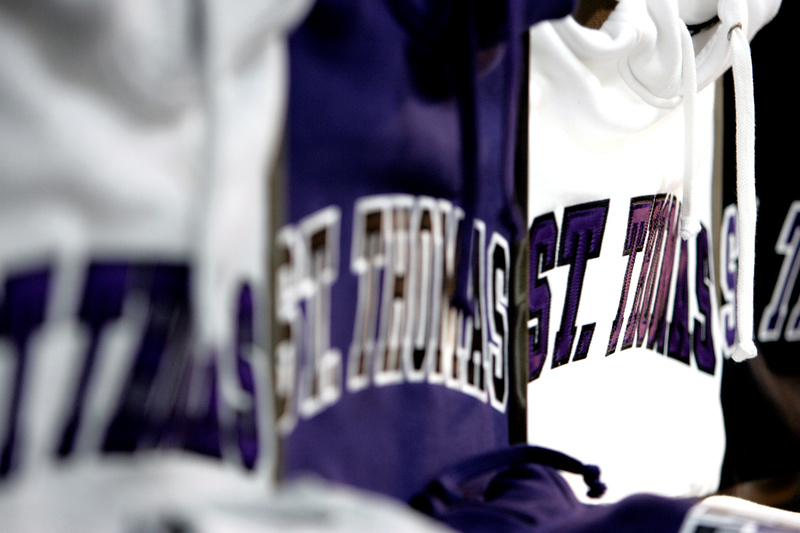 st. thomas sweatshirts on a rack in the tommie shop